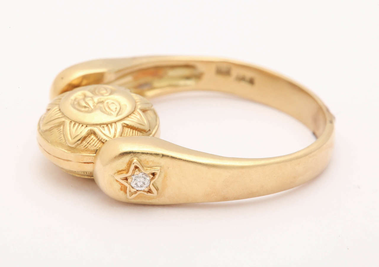 Gold Sun/Moon Swivel Ring 6