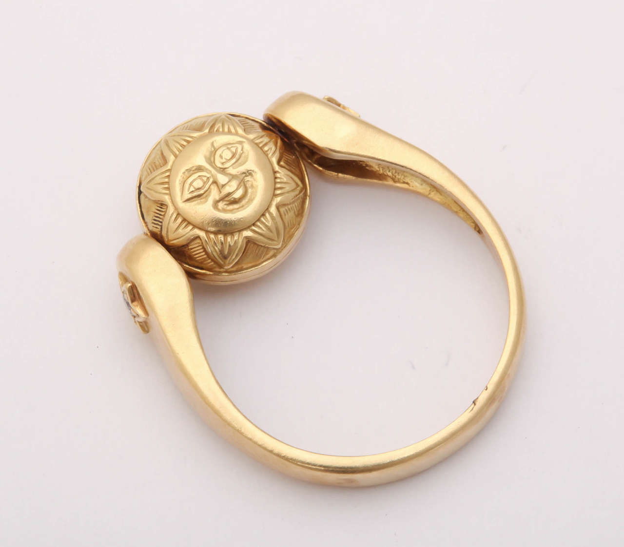 Gold Sun/Moon Swivel Ring 7