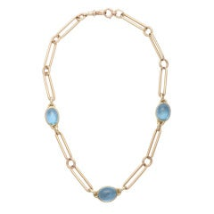 18k Yellow Gold Antique Watch Chain with Cabochon Aquamarines