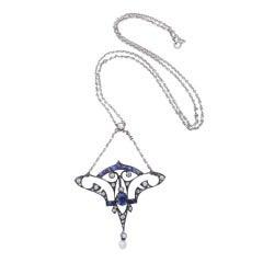 Special Arte Neuveau Sapphire and Diamond Pendant