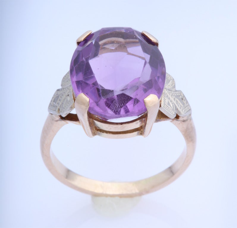 deco 14k white and yellow gold and amethyst ring at 1stdibs