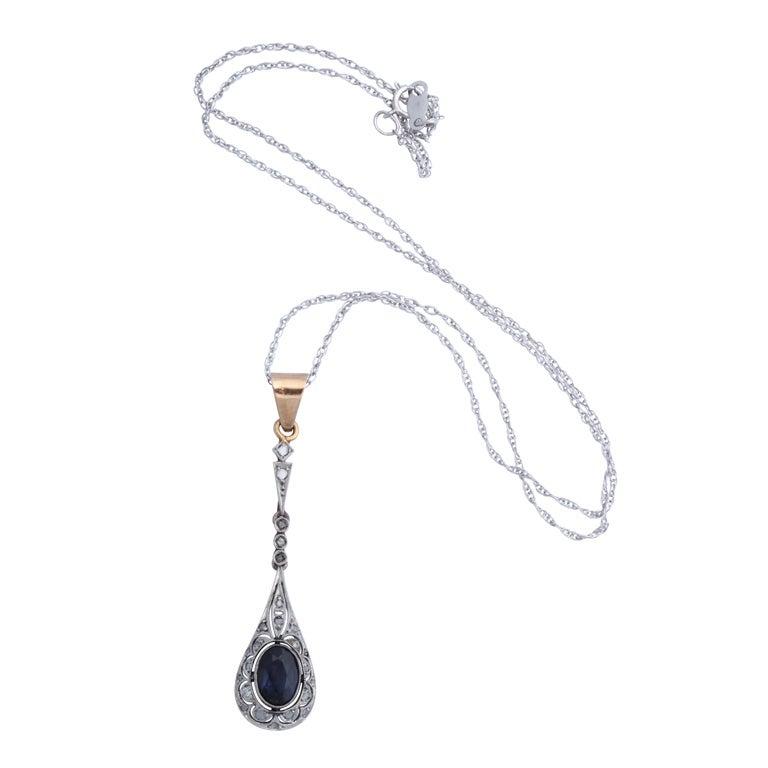 Two-Color Gold Sapphire Diamond Drop Pendant