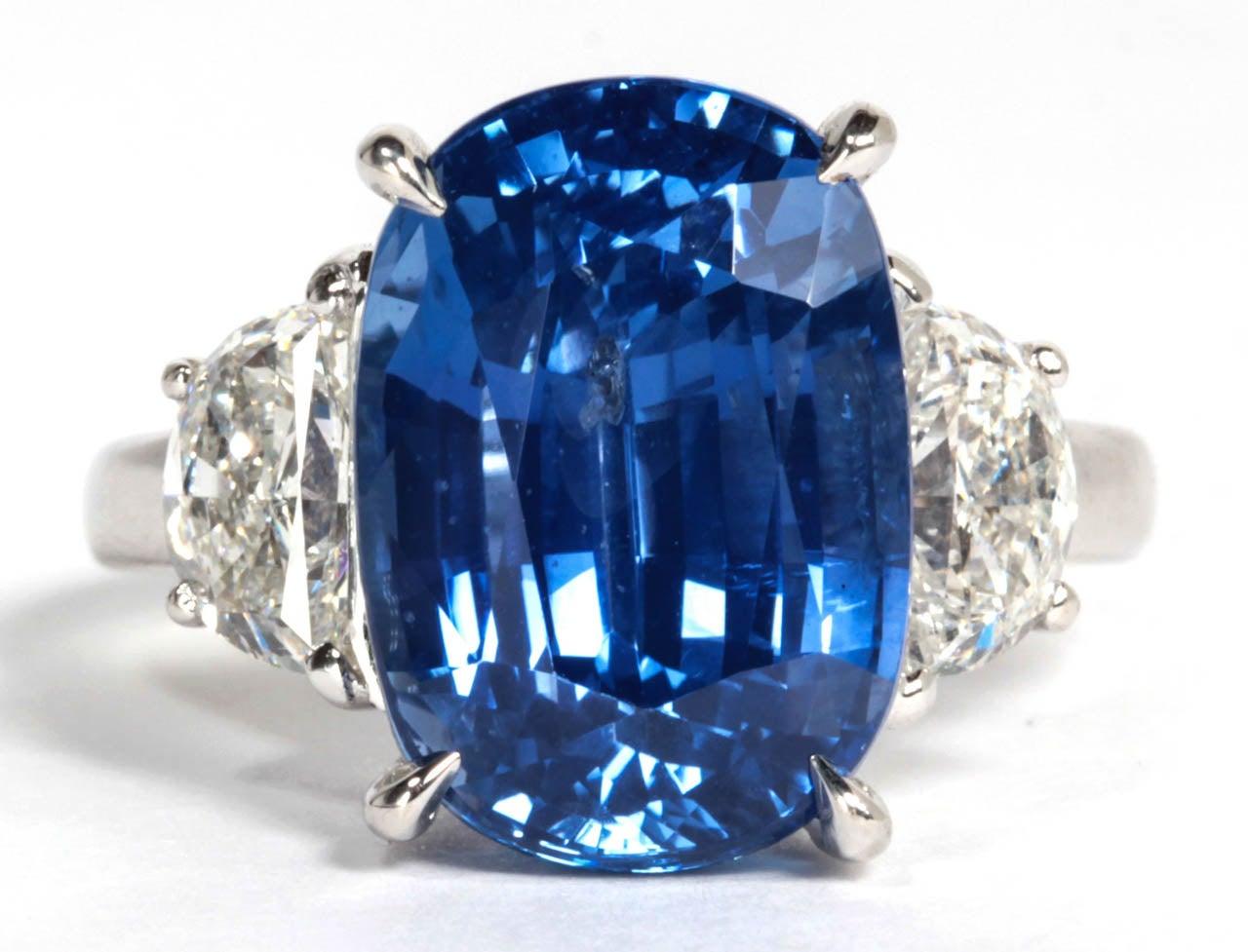 Gorgeous sapphire and diamond ring.   11.51 carat cushion cut