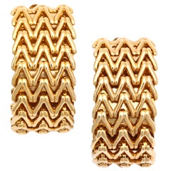 Golden Chevron Link Hoop Earrings