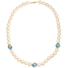 Givenchy Large Faux Pearl Necklace with Blue Beads, Costume Jewelry