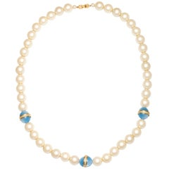 Chanel style Large Faux Pearl Necklace with Blue Beads