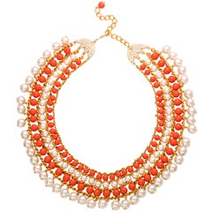 Faux Pearl & Coral Egyptian Style Collar Necklace