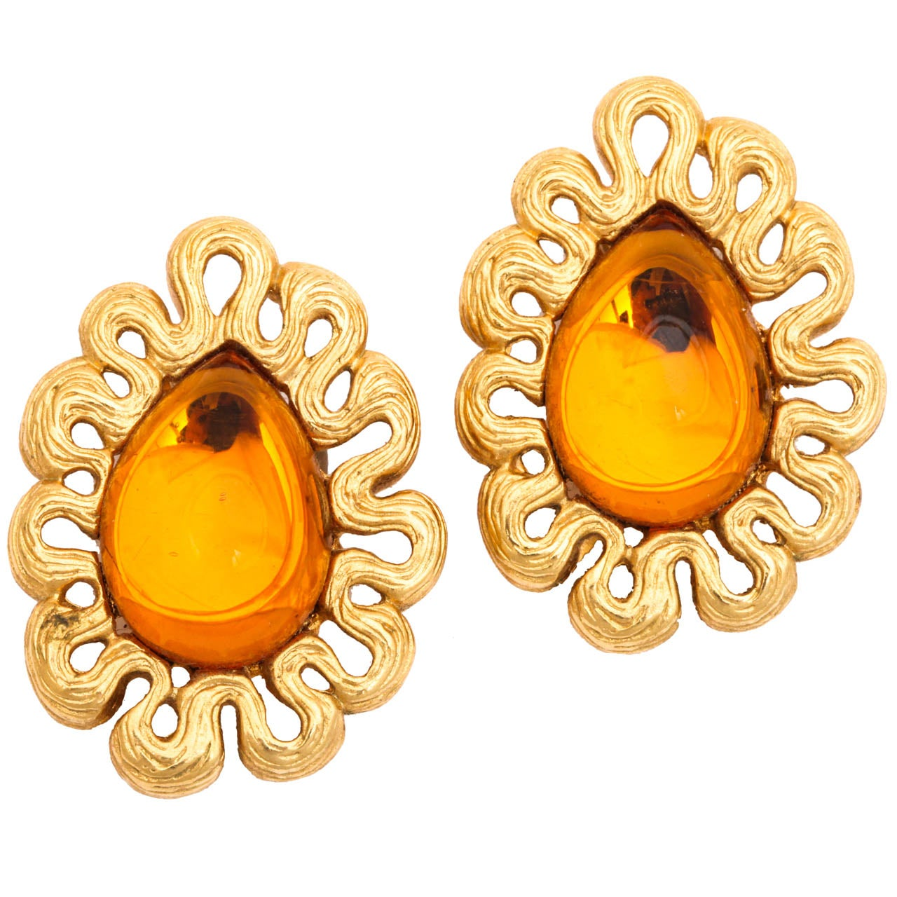 Givenchy Amber and Goldtone Earrings