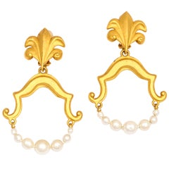 Goldtone and Pearl Hoop Earrings, Costume Jewelry