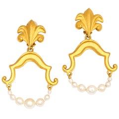 Goldtone and Pearl Hoop Earrings, Costume Jewelry