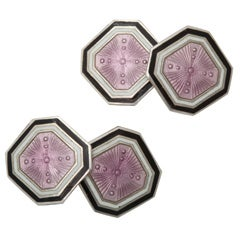 Art Deco Sterling Silver and Guilloche Enamel Cufflinks