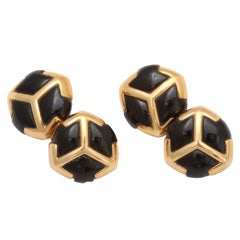 Bulgari Black Onyx Gold Cufflinks