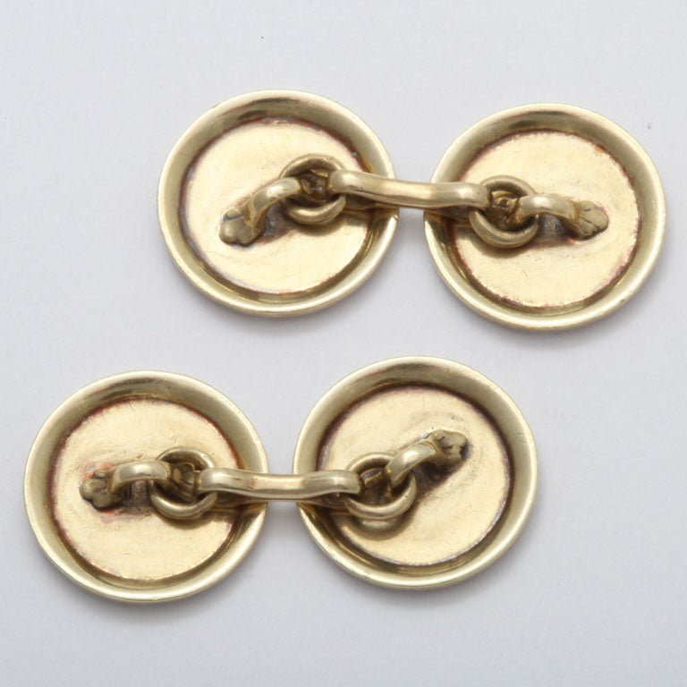 1920s-1930s Art Deco Gold Cufflinks In Excellent Condition For Sale In New York, NY