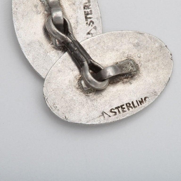 Men's 1920s-1930s Art Deco Sterling Silver and Guilloche Enamel Cufflinks For Sale