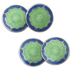 1920s-1930s Art Deco Sterling Silver and Guilloche Enamel Cufflinks