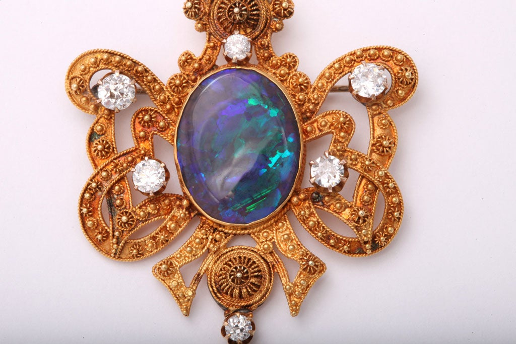 Incredible Etruscan Black Opal Diamond Brooch Pendant 4