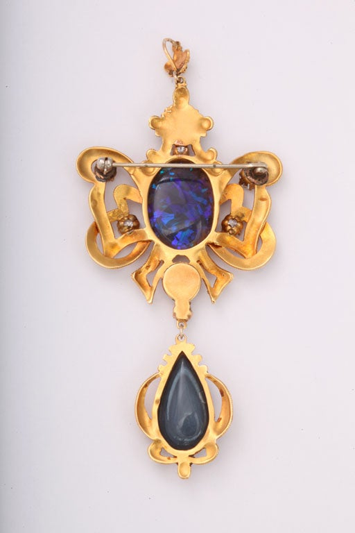 Incredible Etruscan Black Opal Diamond Brooch Pendant For Sale 1