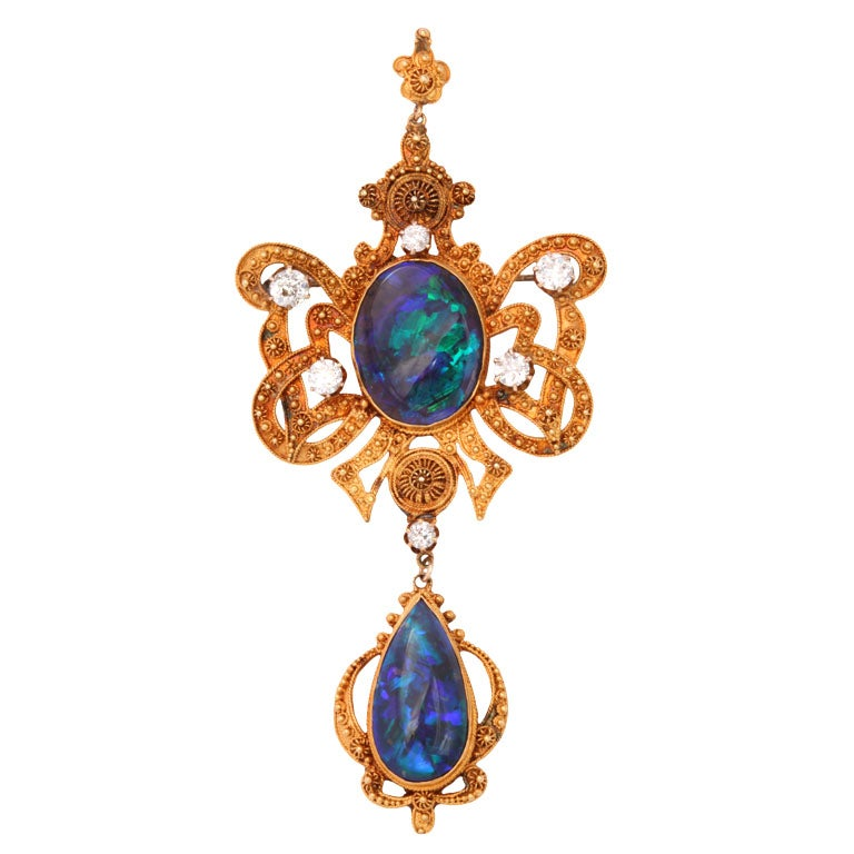 Incredible Etruscan Black Opal Diamond Brooch Pendant For Sale