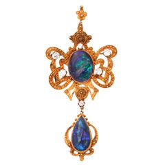 Incredible Etruscan Black Opal Diamond Brooch Pendant