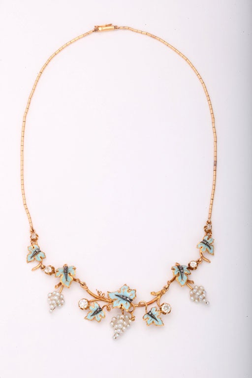 Victorian Pearl Grapes and Enamel Leaves Necklace with Diamonds Accent In Excellent Condition For Sale In Miami Beach, FL