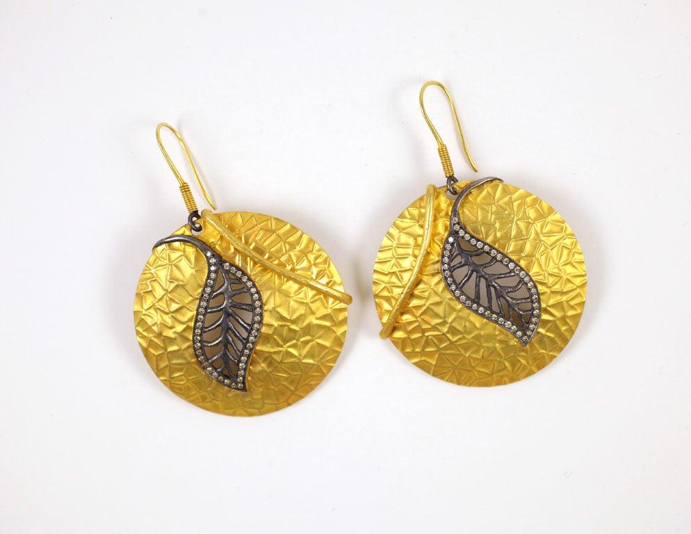 Diamond Gold Silver Leaf Disc Earrings 3