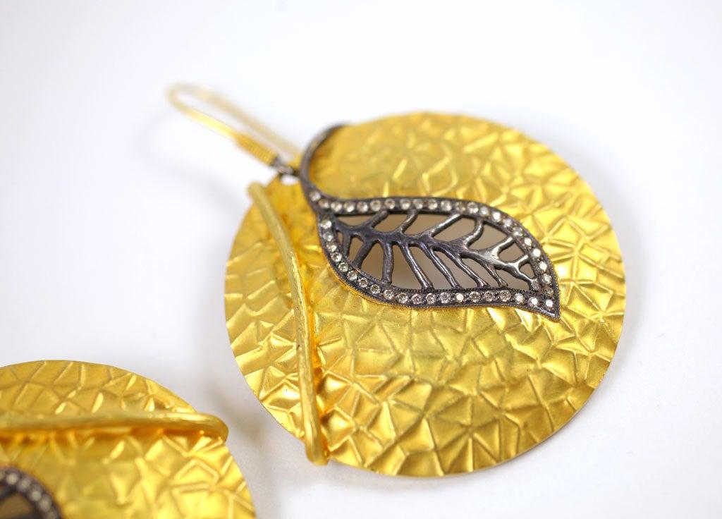 Diamond Gold Silver Leaf Disc Earrings 4