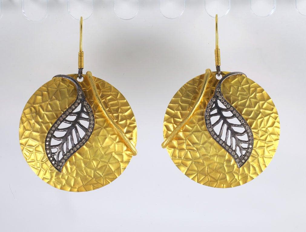 Diamond Gold Silver Leaf Disc Earrings 2