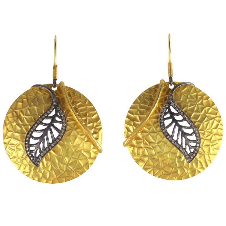 Diamond Gold Silver Leaf Disc Earrings 1