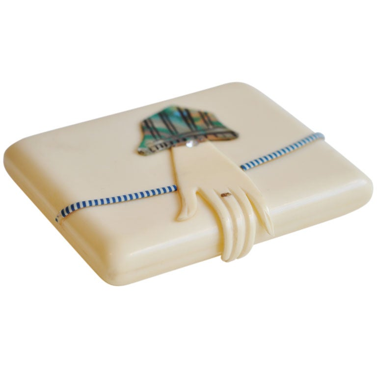 Art Deco Celluloid Hand Case At 1stdibs