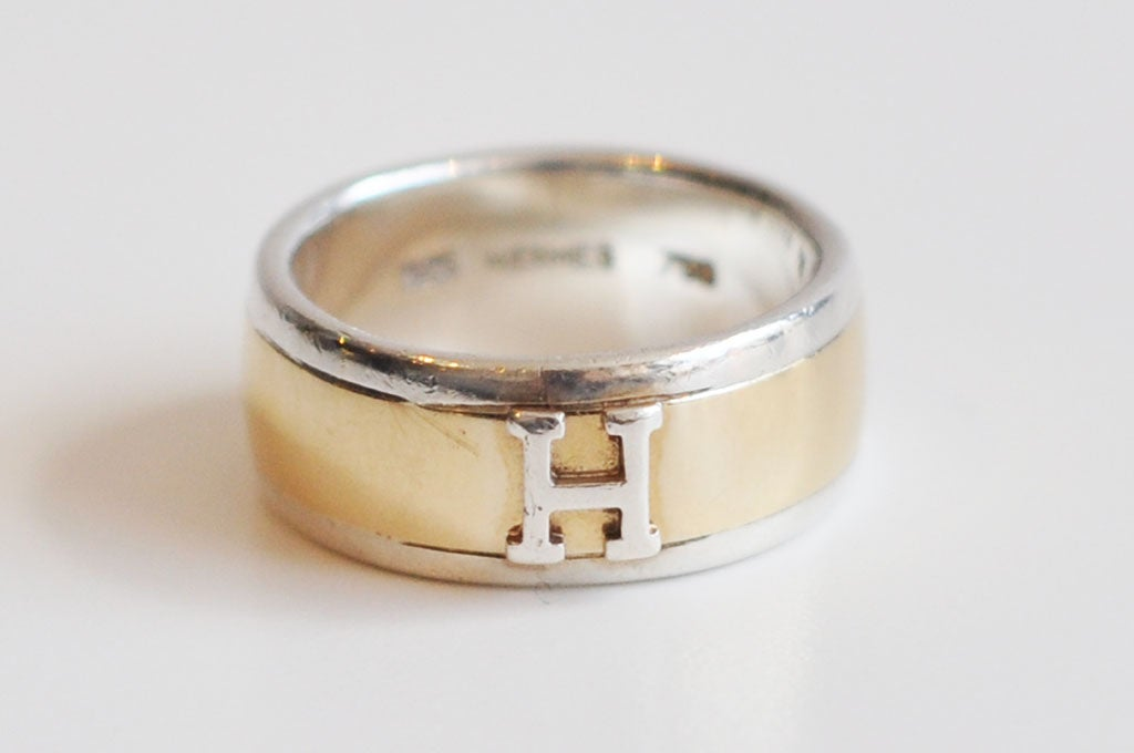 hermes 18k gold and sterling silver ring at 1stdibs