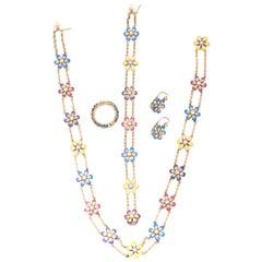 Enamel Diamond Gold Ring Earrings Bracelet Necklace Daisy Flower Suite