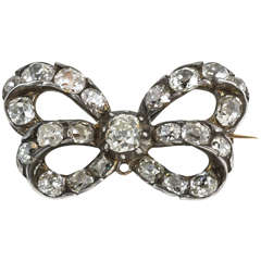 18th Century Cushion Cut Diamond Bow Brooch