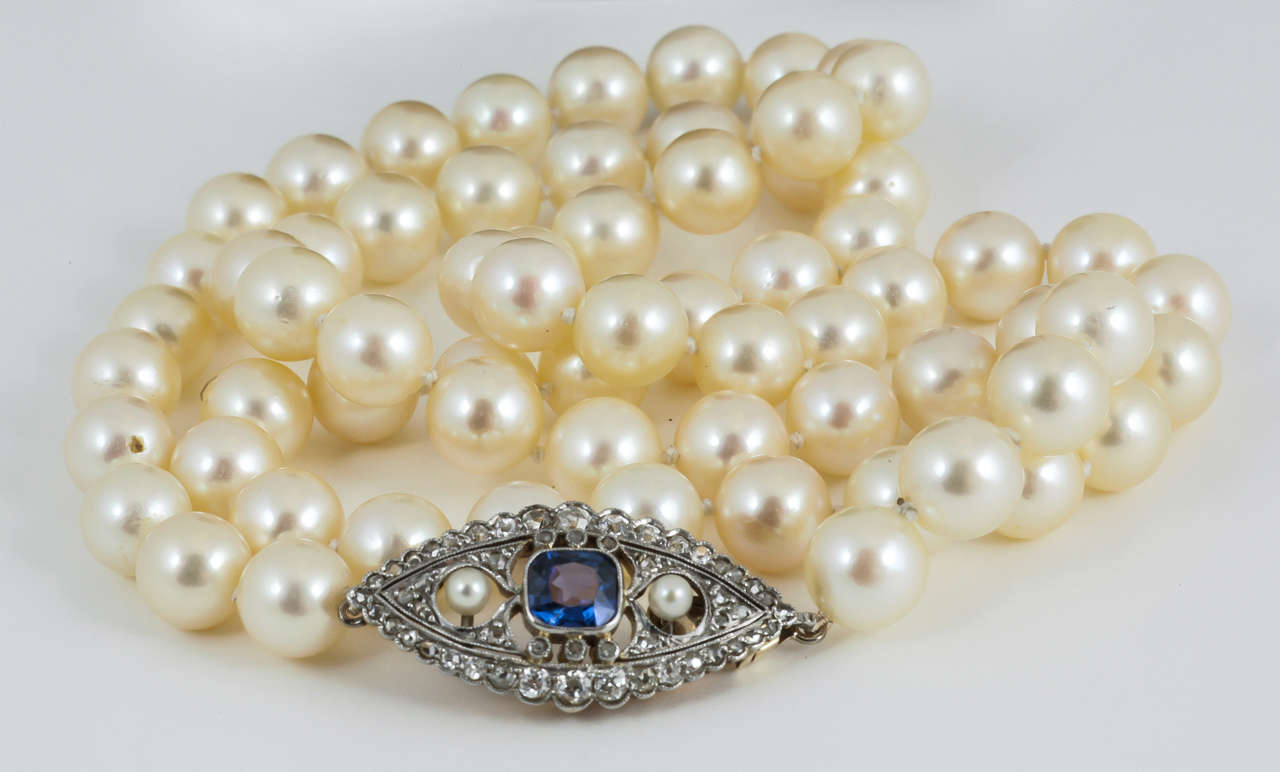 carat pearls ceylon sapphire youtube cartier pearl watch necklace and