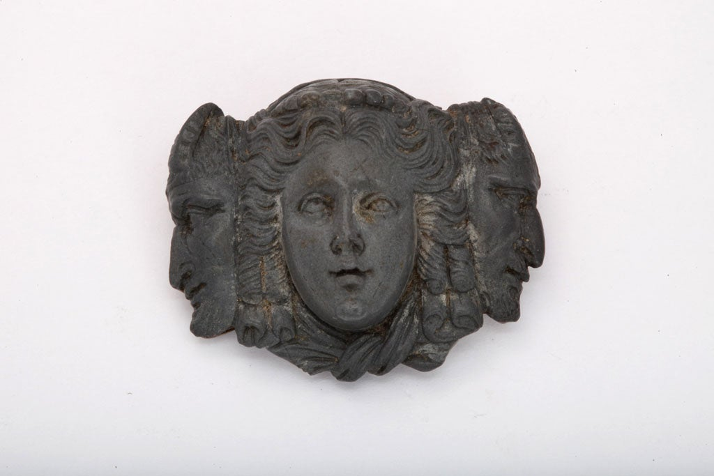 Three Faces Cameo Brooch of Blue Gray Lava 2