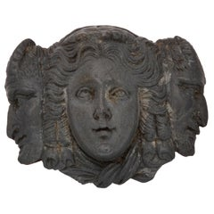 Three-Faces Cameo Brooch of Blue Gray Lava