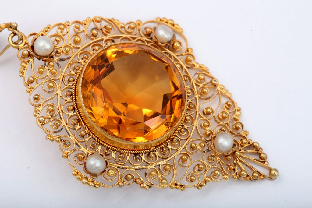 Round Cut Antique Edwardian Heavenly Filigree and Citrine Pendant For Sale