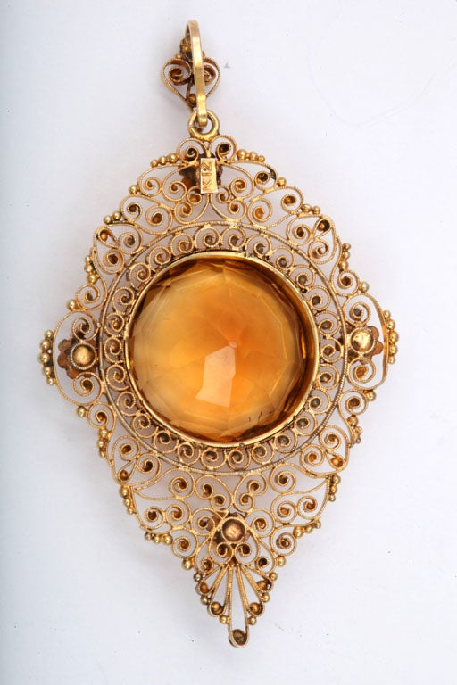 Women's Antique Edwardian Heavenly Filigree and Citrine Pendant For Sale