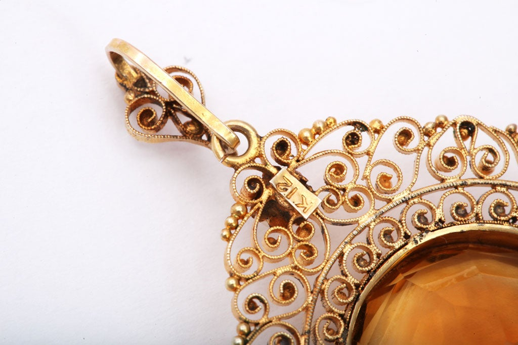 Antique Edwardian Heavenly Filigree and Citrine Pendant In Excellent Condition For Sale In Stamford, CT