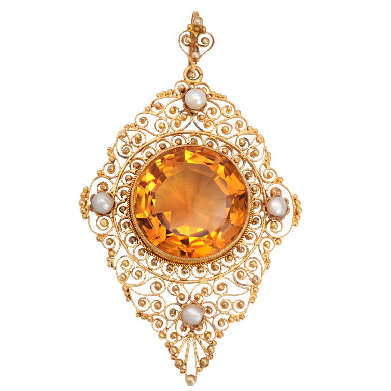 Antique Edwardian Heavenly Filigree and Citrine Pendant For Sale