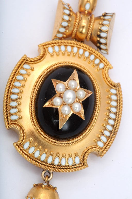 Antique Victorian Enamel and Natural Pearl Pendant In Good Condition For Sale In Stamford, CT