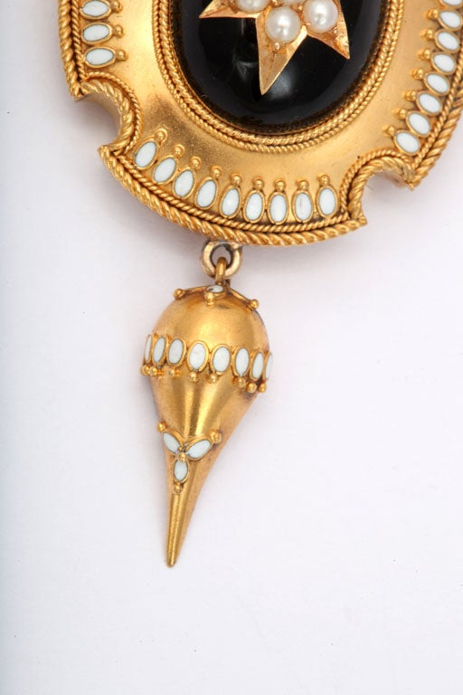Women's Antique Victorian Enamel and Natural Pearl Pendant For Sale