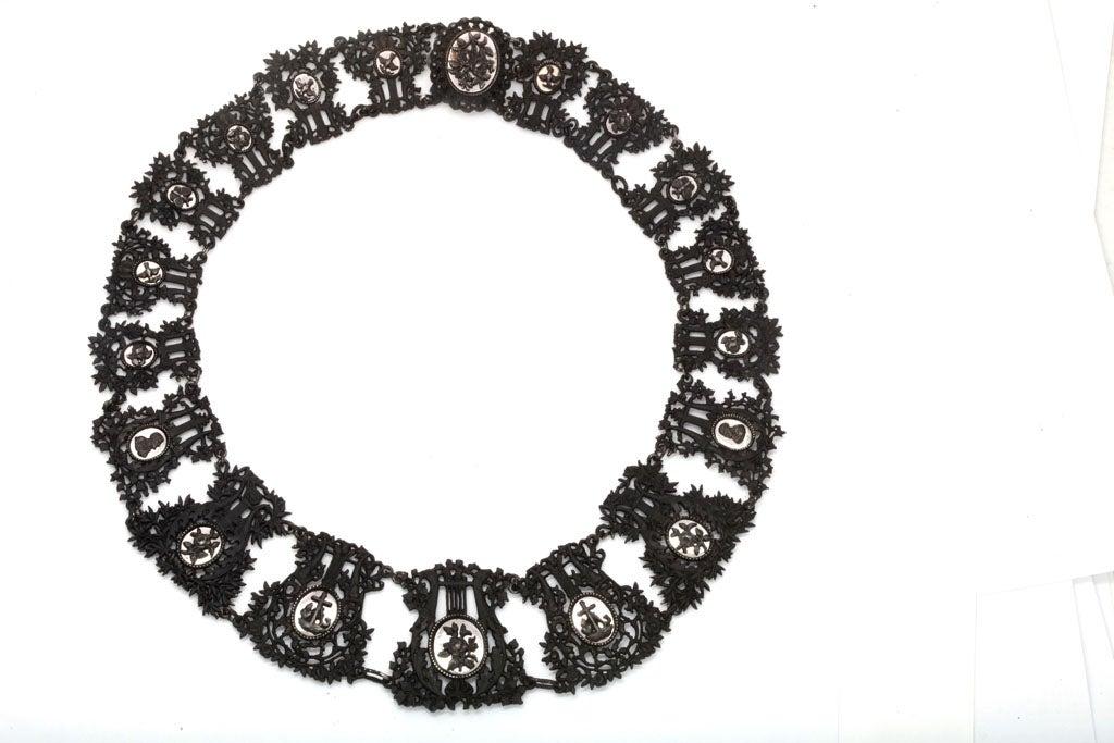 Napoleon III Antique Georgian Berlin Iron Musical Motif Necklace For Sale