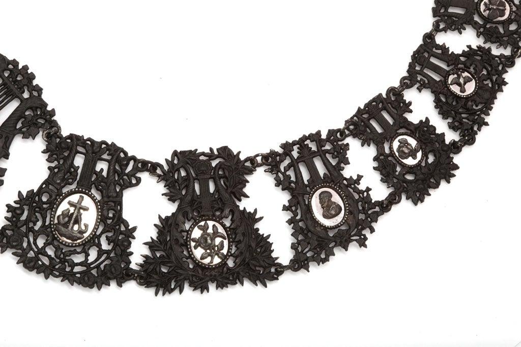 Antique Georgian Berlin Iron Musical Motif Necklace For Sale 1
