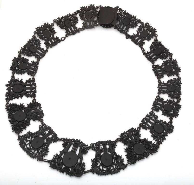 Antique Georgian Berlin Iron Musical Motif Necklace For Sale 3