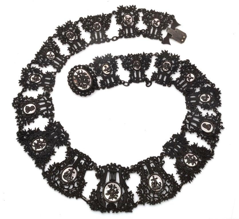 Antique Georgian Berlin Iron Musical Motif Necklace For Sale 4