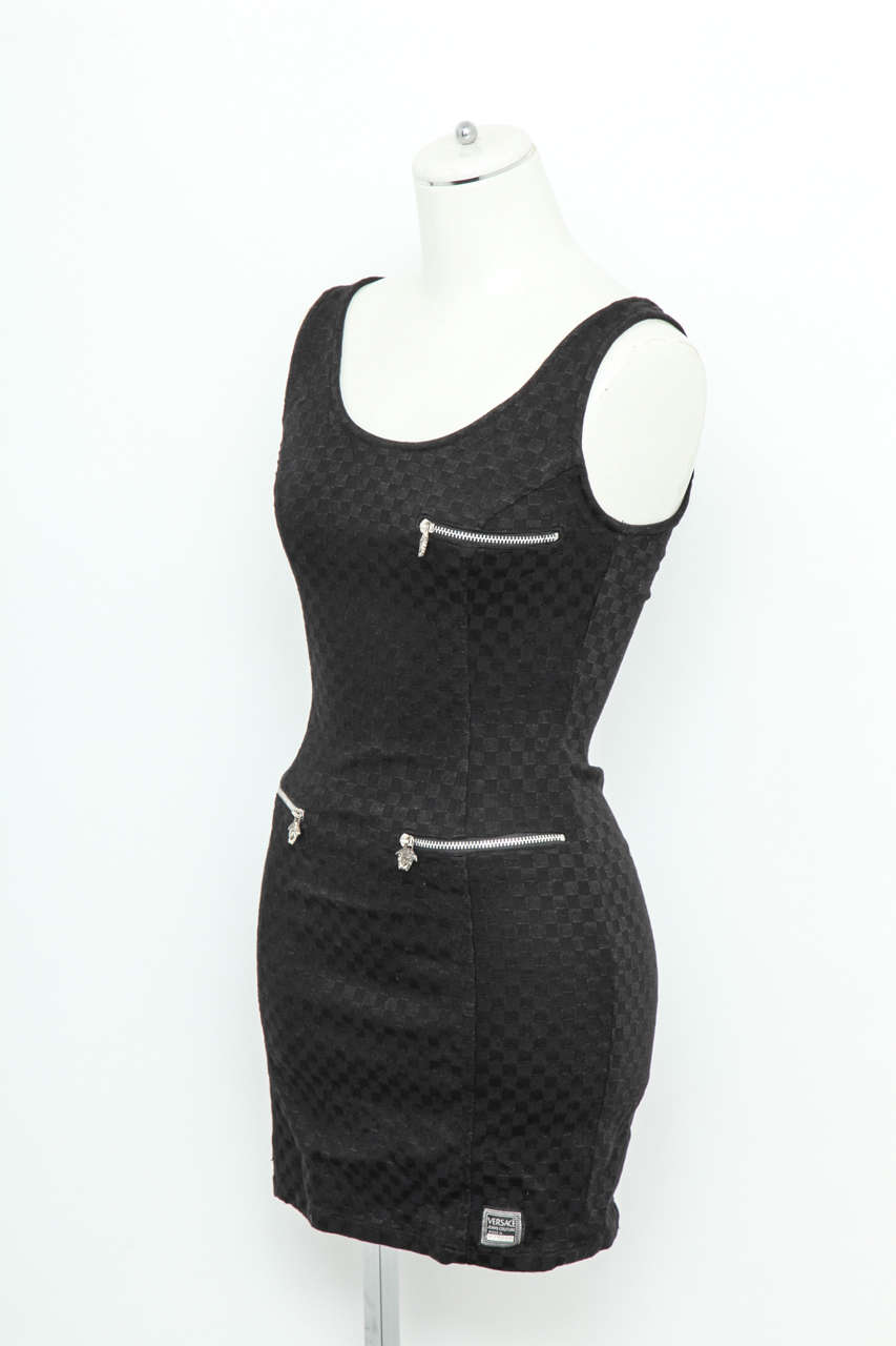 Black dress jeans - Versace Jeans Couture Black Dress With Silver Medusa Zippers 2
