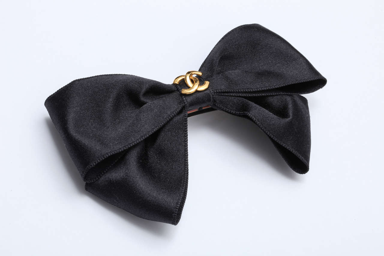 Chanel Black Satin Bow Hair Clip 2