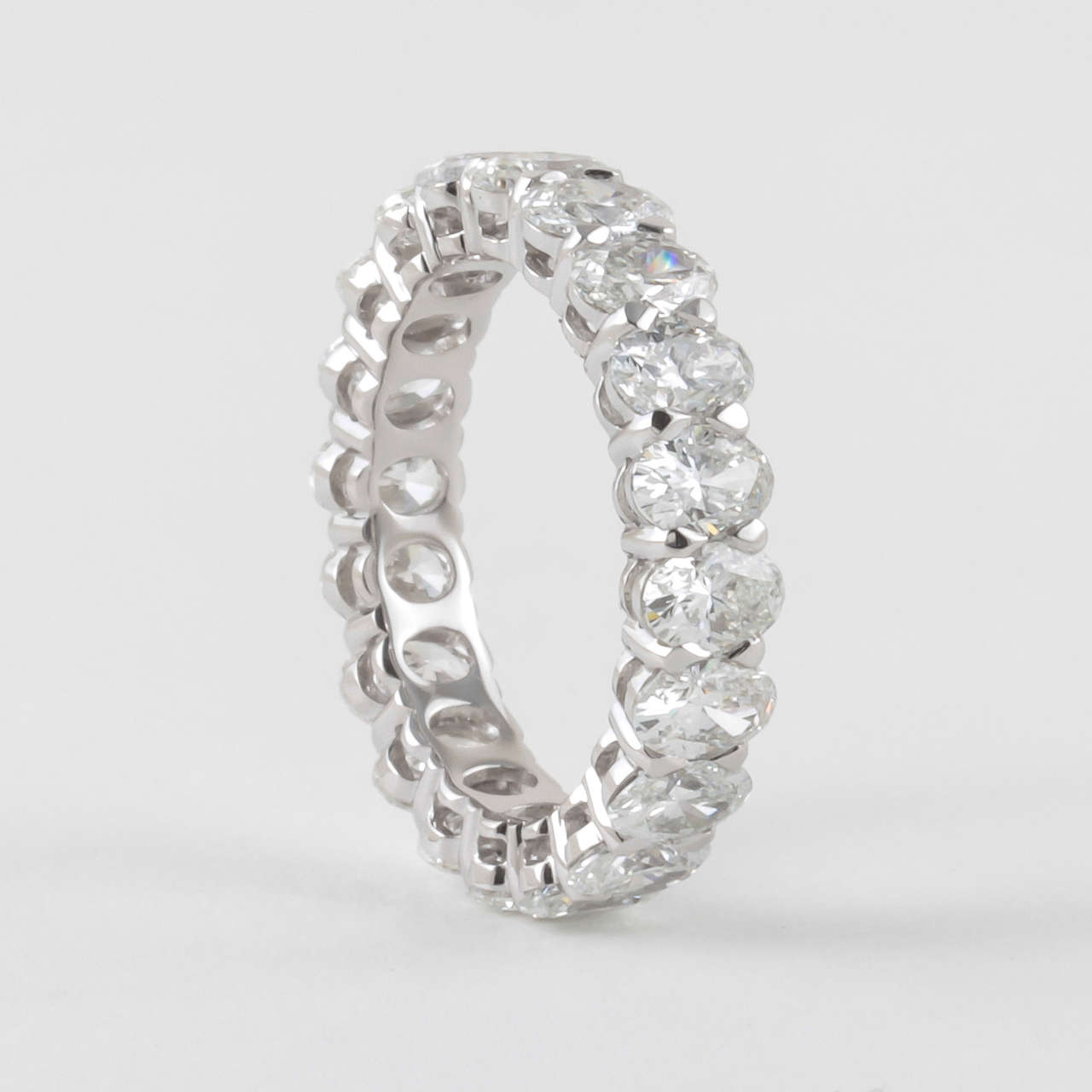 Oval Diamond White Gold Eternity Band For Sale at 1stdibs
