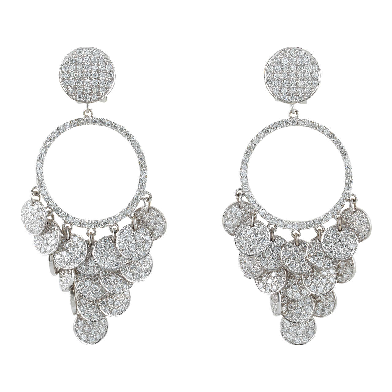 Pave Diamond Chandelier Earrings For Sale at 1stdibs
