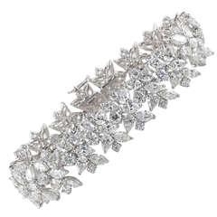 Pear Round and Marquise Diamond Platinum Wreath Bracelet